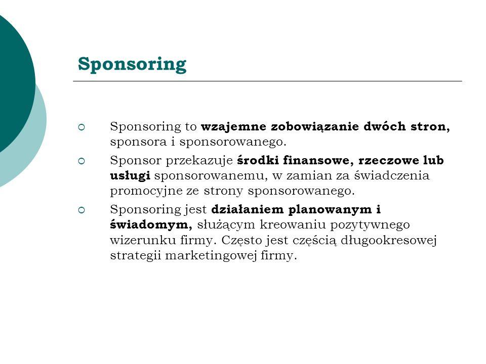 Sponsoring Sponsoring to wzajemne zobowiązanie dwóch stron, sponsora i sponsorowanego. Sponsor przekazuje środki finansowe, rzeczowe lub usługi sponso