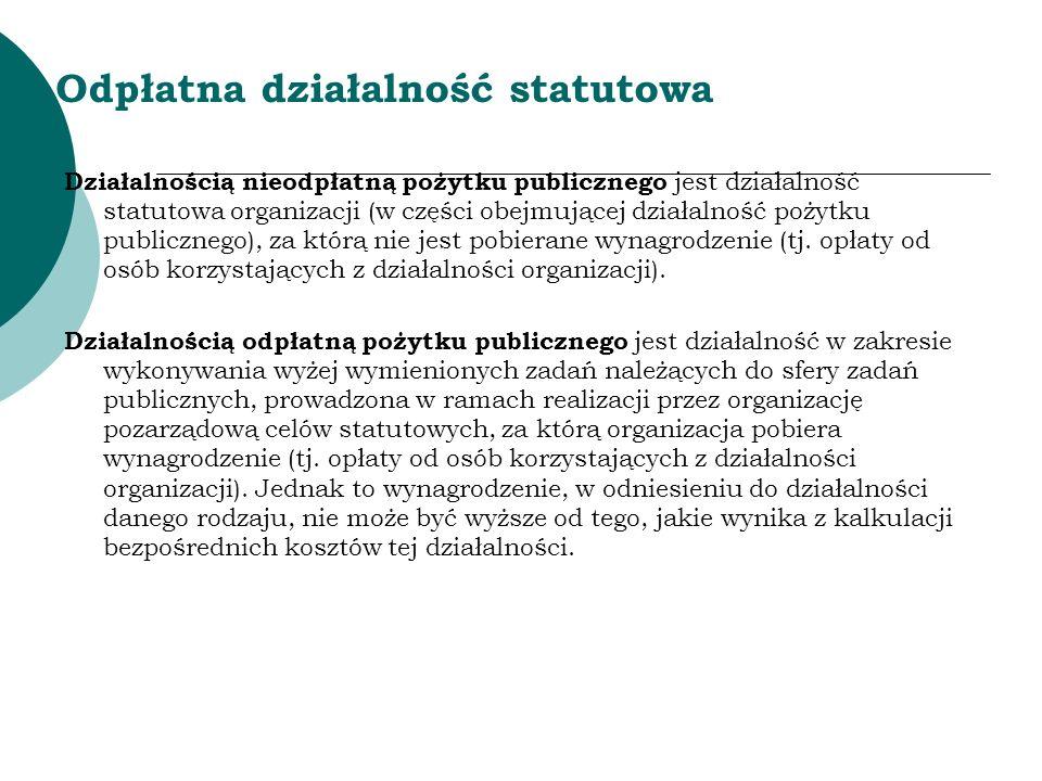 Odpłatna działalność statutowa Działalnością nieodpłatną pożytku publicznego jest działalność statutowa organizacji (w części obejmującej działalność