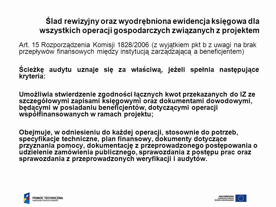 Ślad rewizyjny oraz wyodrębniona ewidencja księgowa dla wszystkich operacji gospodarczych związanych z projektem Art. 15 Rozporządzenia Komisji 1828/2