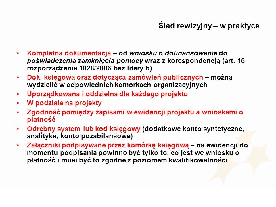 Ślad rewizyjny – w praktyce Kompletna dokumentacja – od wniosku o dofinansowanie do poświadczenia zamknięcia pomocy wraz z korespondencją (art. 15 roz