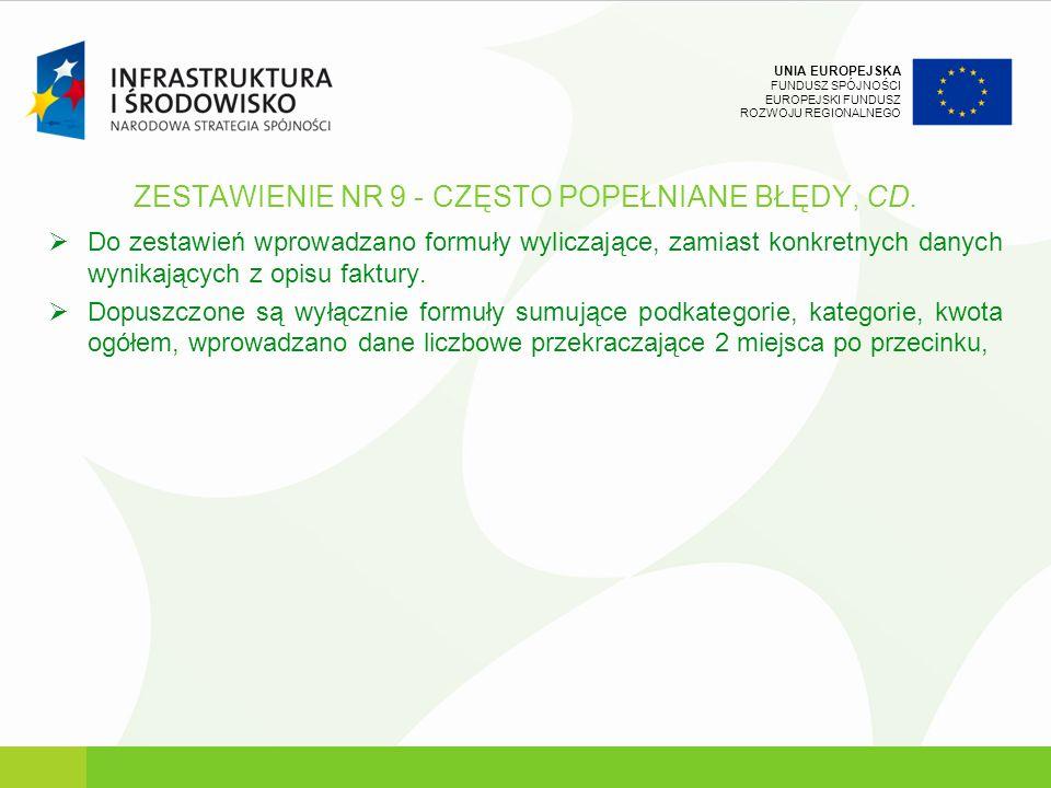 UNIA EUROPEJSKA FUNDUSZ SPÓJNOŚCI EUROPEJSKI FUNDUSZ ROZWOJU REGIONALNEGO ZESTAWIENIE NR 9 - CZĘSTO POPEŁNIANE BŁĘDY, CD. Do zestawień wprowadzano for