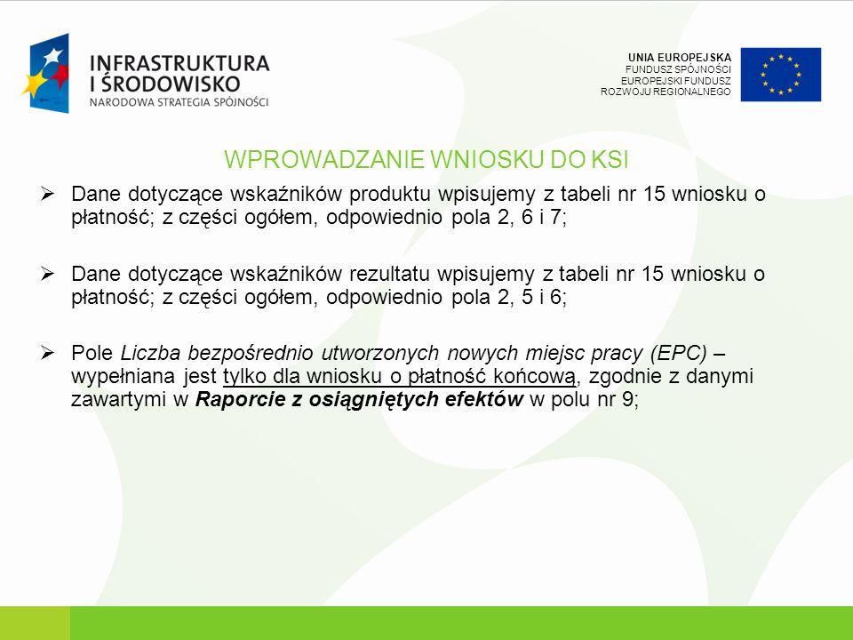 UNIA EUROPEJSKA FUNDUSZ SPÓJNOŚCI EUROPEJSKI FUNDUSZ ROZWOJU REGIONALNEGO WPROWADZANIE WNIOSKU DO KSI Dane dotyczące wskaźników produktu wpisujemy z t