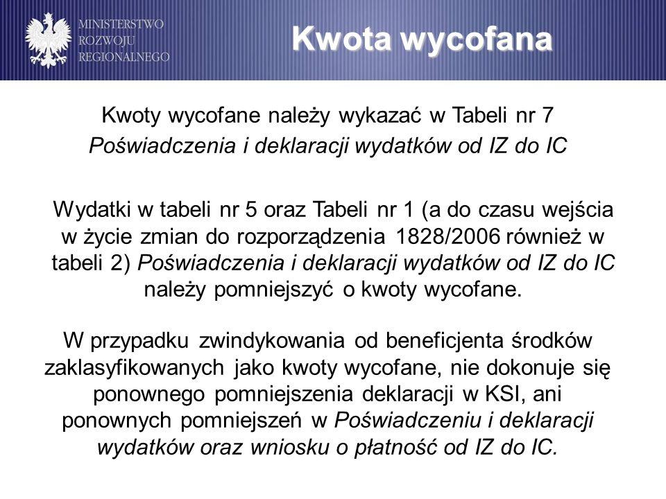 Wydatki w tabeli nr 5 oraz Tabeli nr 1 (a do czasu wejścia w życie zmian do rozporządzenia 1828/2006 również w tabeli 2) Poświadczenia i deklaracji wy