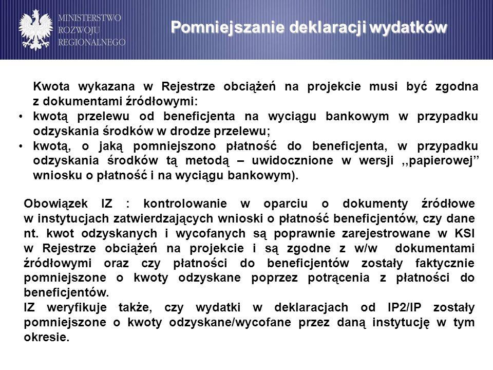 Kwota wykazana w Rejestrze obciążeń na projekcie musi być zgodna z dokumentami źródłowymi: kwotą przelewu od beneficjenta na wyciągu bankowym w przypa