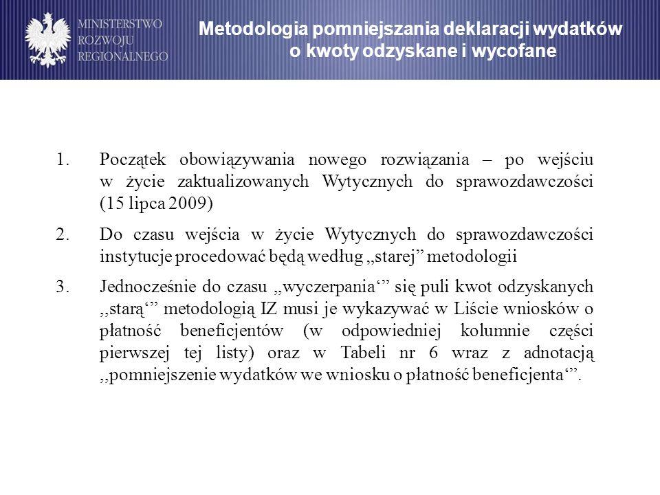 Metodologia pomniejszania deklaracji wydatków o kwoty odzyskane i wycofane 1.Początek obowiązywania nowego rozwiązania – po wejściu w życie zaktualizo