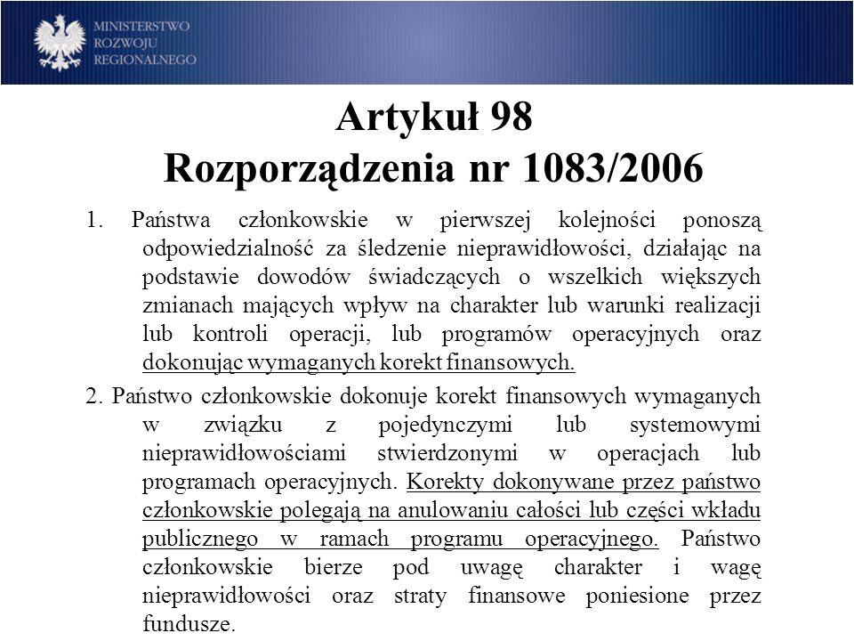 Artykuł 98 Rozporządzenia nr 1083/2006 1. Państwa członkowskie w pierwszej kolejności ponoszą odpowiedzialność za śledzenie nieprawidłowości, działają