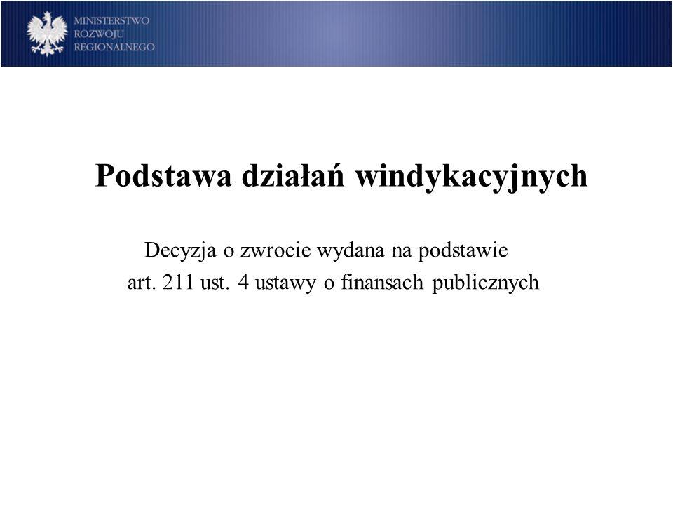 Podstawa działań windykacyjnych Decyzja o zwrocie wydana na podstawie art. 211 ust. 4 ustawy o finansach publicznych