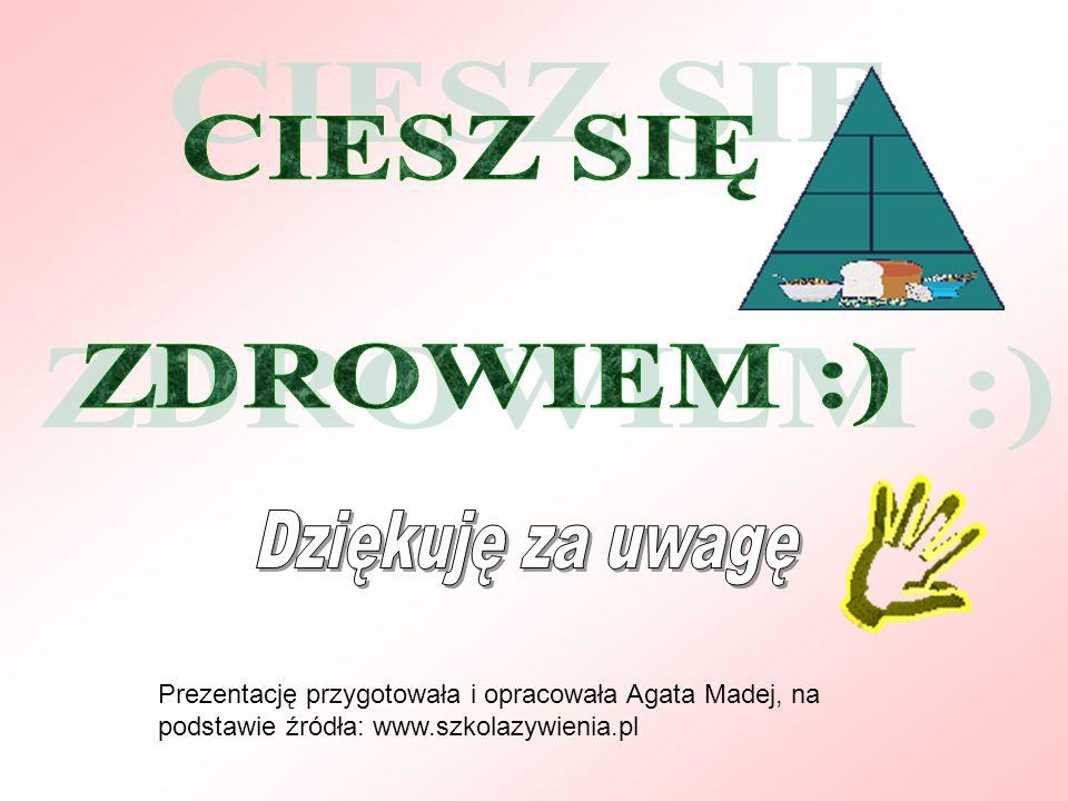 Prezentację przygotowała i opracowała Agata Madej, na podstawie źródła: www.szkolazywienia.pl