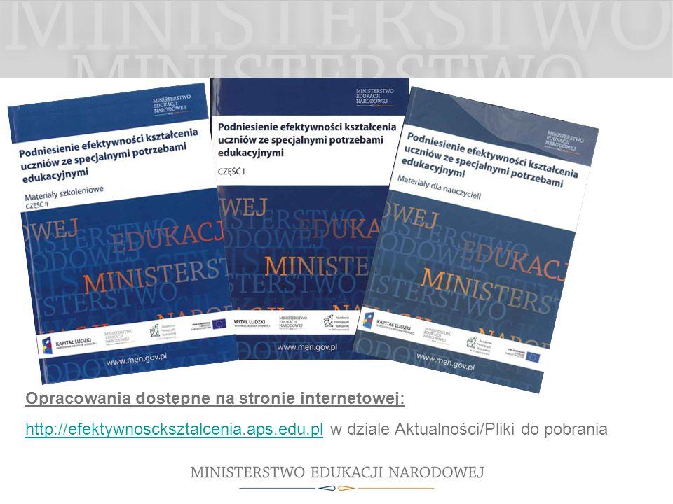 Opracowania dostępne na stronie internetowej: http://efektywnoscksztalcenia.aps.edu.plhttp://efektywnoscksztalcenia.aps.edu.pl w dziale Aktualności/Pliki do pobrania