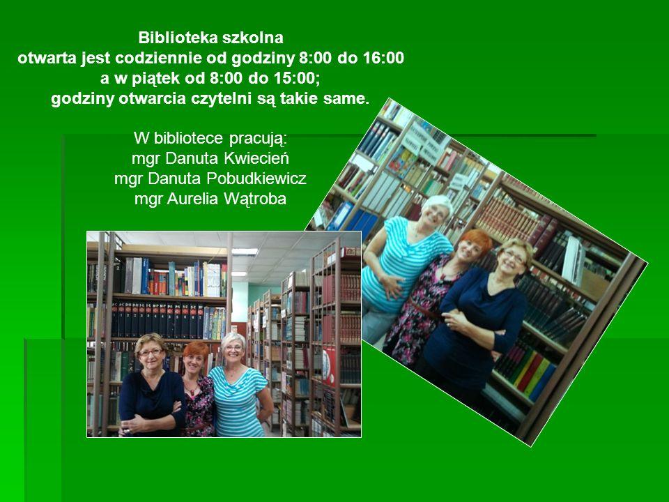 Biblioteka szkolna otwarta jest codziennie od godziny 8:00 do 16:00 a w piątek od 8:00 do 15:00; godziny otwarcia czytelni są takie same. W bibliotece