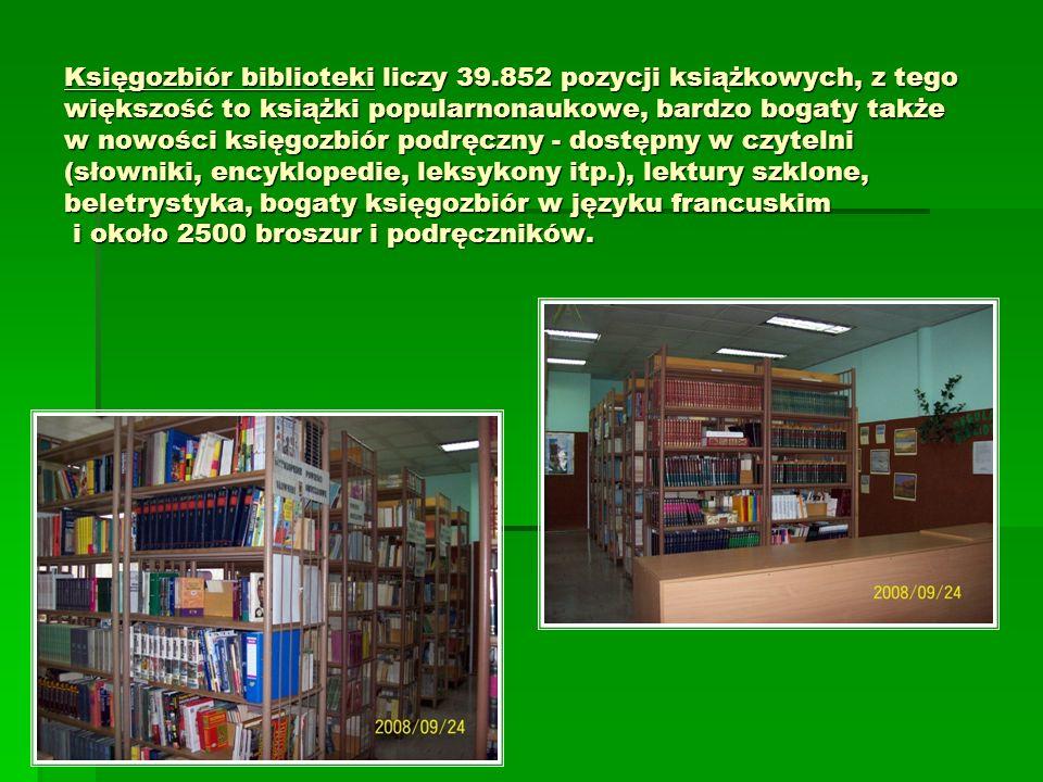Księgozbiór biblioteki liczy 39.852 pozycji książkowych, z tego większość to książki popularnonaukowe, bardzo bogaty także w nowości księgozbiór podrę