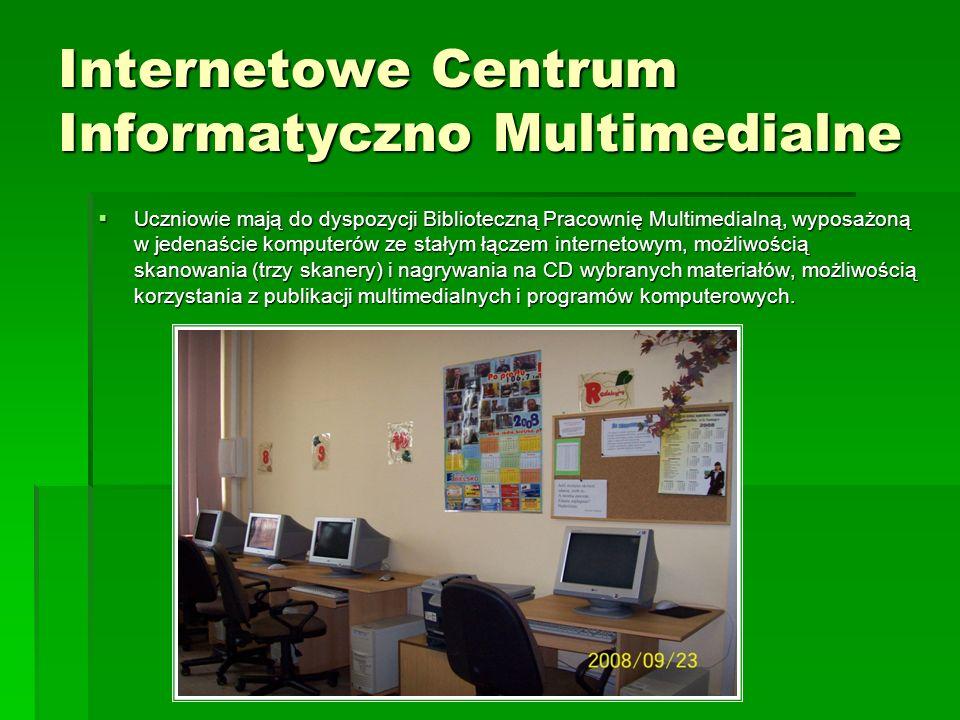 Uczniowie mają do dyspozycji Biblioteczną Pracownię Multimedialną, wyposażoną w jedenaście komputerów ze stałym łączem internetowym, możliwością skano