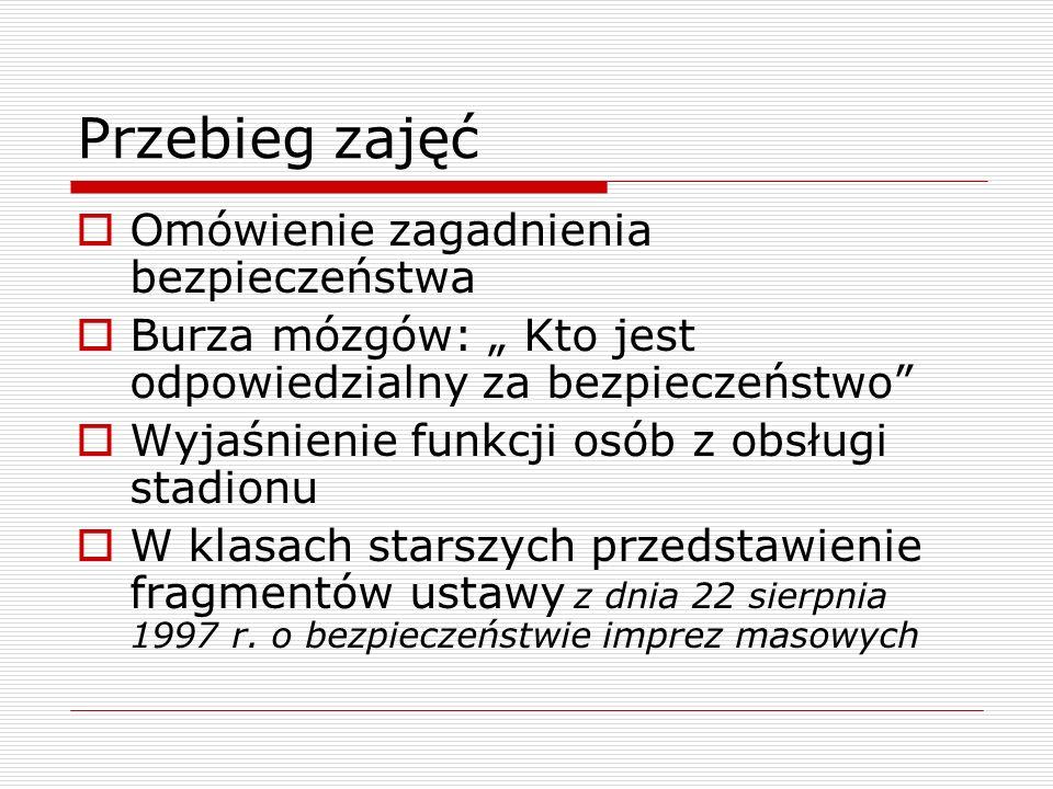 Przebieg zajęć Omówienie zagadnienia bezpieczeństwa Burza mózgów: Kto jest odpowiedzialny za bezpieczeństwo Wyjaśnienie funkcji osób z obsługi stadion