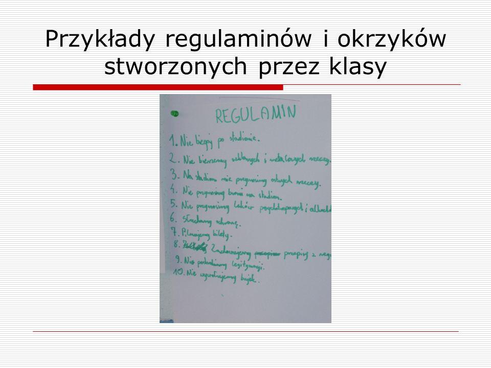 Przykłady regulaminów i okrzyków stworzonych przez klasy