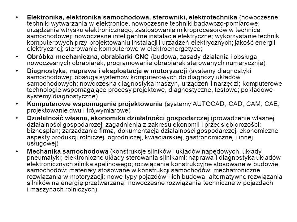 Elektronika, elektronika samochodowa, sterowniki, elektrotechnika (nowoczesne techniki wytwarzania w elektronice, nowoczesne techniki badawczo-pomiaro