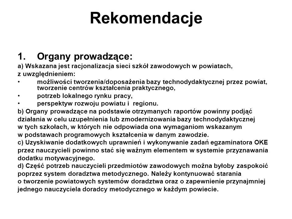 Rekomendacje 1.Organy prowadzące: a) Wskazana jest racjonalizacja sieci szkół zawodowych w powiatach, z uwzględnieniem: możliwości tworzenia/doposażen
