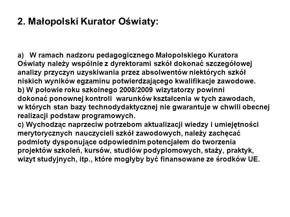 2. Małopolski Kurator Oświaty: a)W ramach nadzoru pedagogicznego Małopolskiego Kuratora Oświaty należy wspólnie z dyrektorami szkół dokonać szczegółow