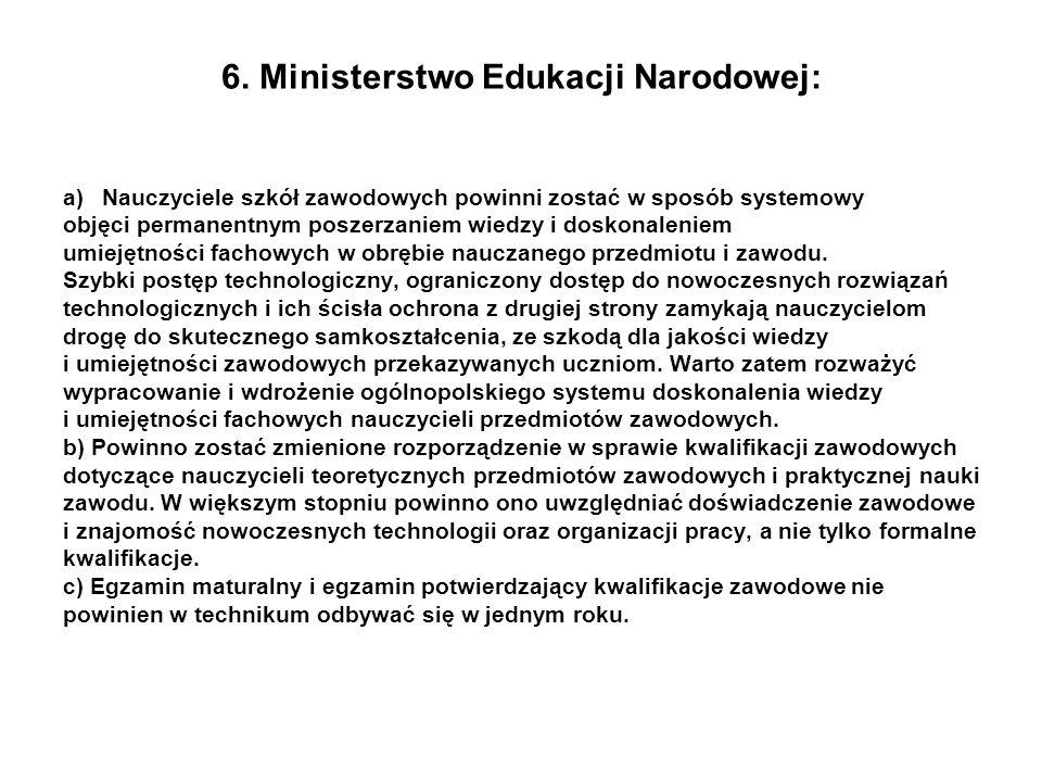 6. Ministerstwo Edukacji Narodowej: a)Nauczyciele szkół zawodowych powinni zostać w sposób systemowy objęci permanentnym poszerzaniem wiedzy i doskona