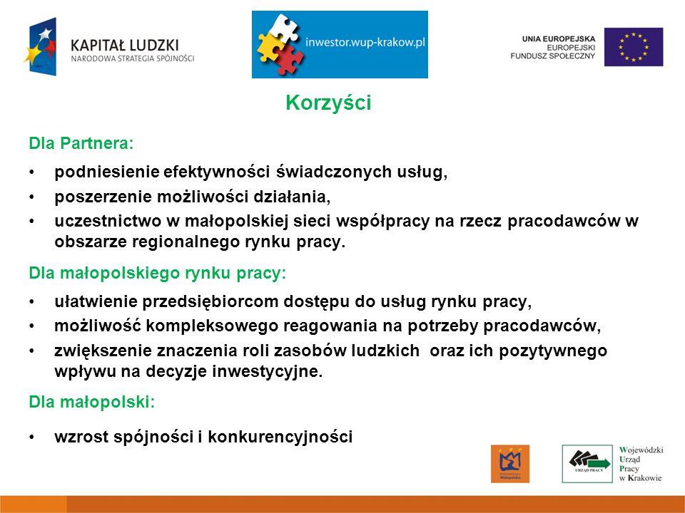 Korzyści Dla Partnera: podniesienie efektywności świadczonych usług, poszerzenie możliwości działania, uczestnictwo w małopolskiej sieci współpracy na rzecz pracodawców w obszarze regionalnego rynku pracy.