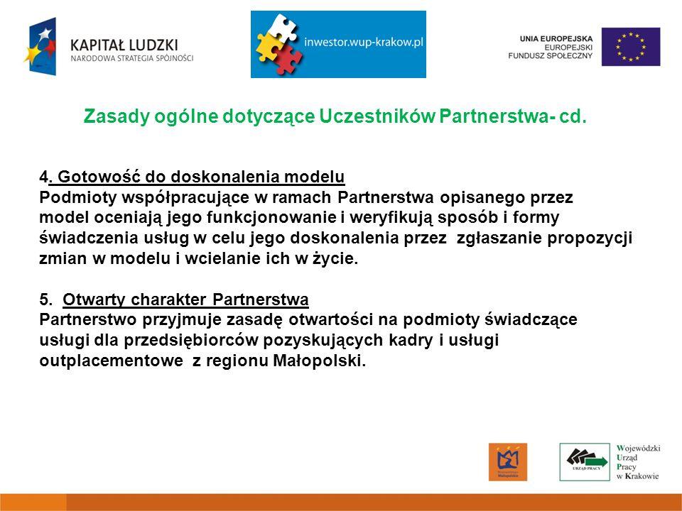 Zasady ogólne dotyczące Uczestników Partnerstwa- cd.