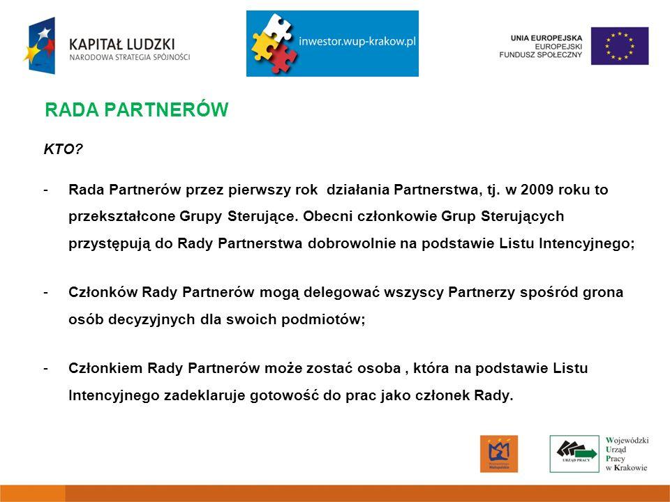 RADA PARTNERÓW KTO. -Rada Partnerów przez pierwszy rok działania Partnerstwa, tj.