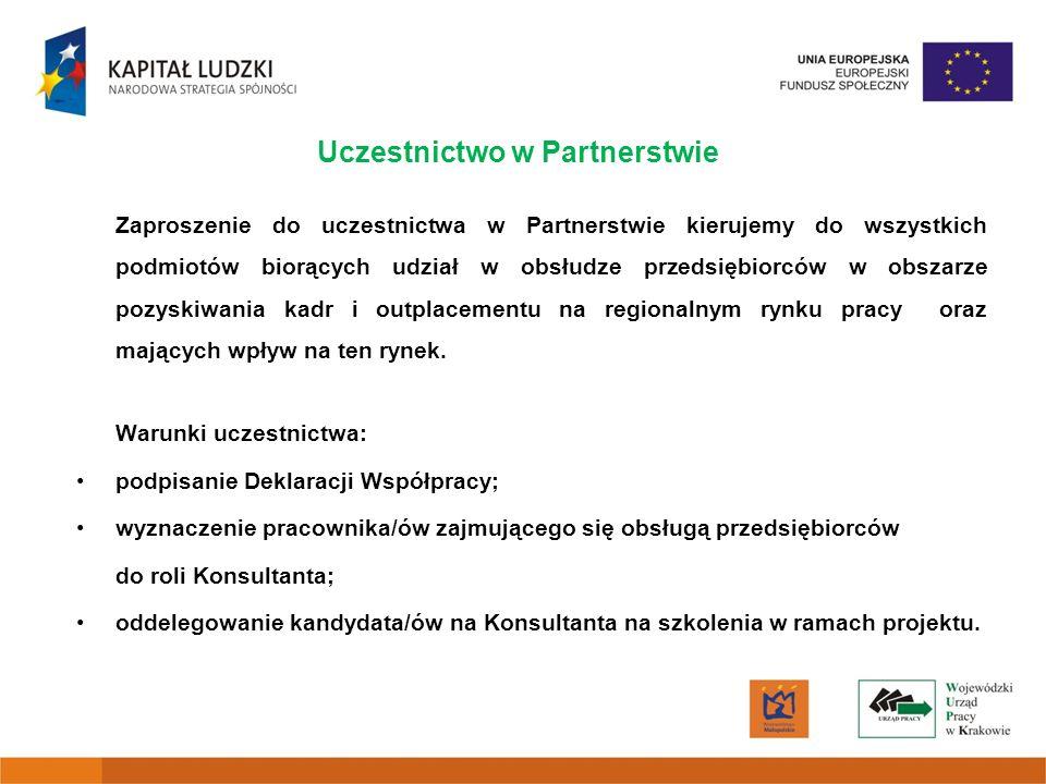 Uczestnictwo w Partnerstwie Zaproszenie do uczestnictwa w Partnerstwie kierujemy do wszystkich podmiotów biorących udział w obsłudze przedsiębiorców w obszarze pozyskiwania kadr i outplacementu na regionalnym rynku pracy oraz mających wpływ na ten rynek.