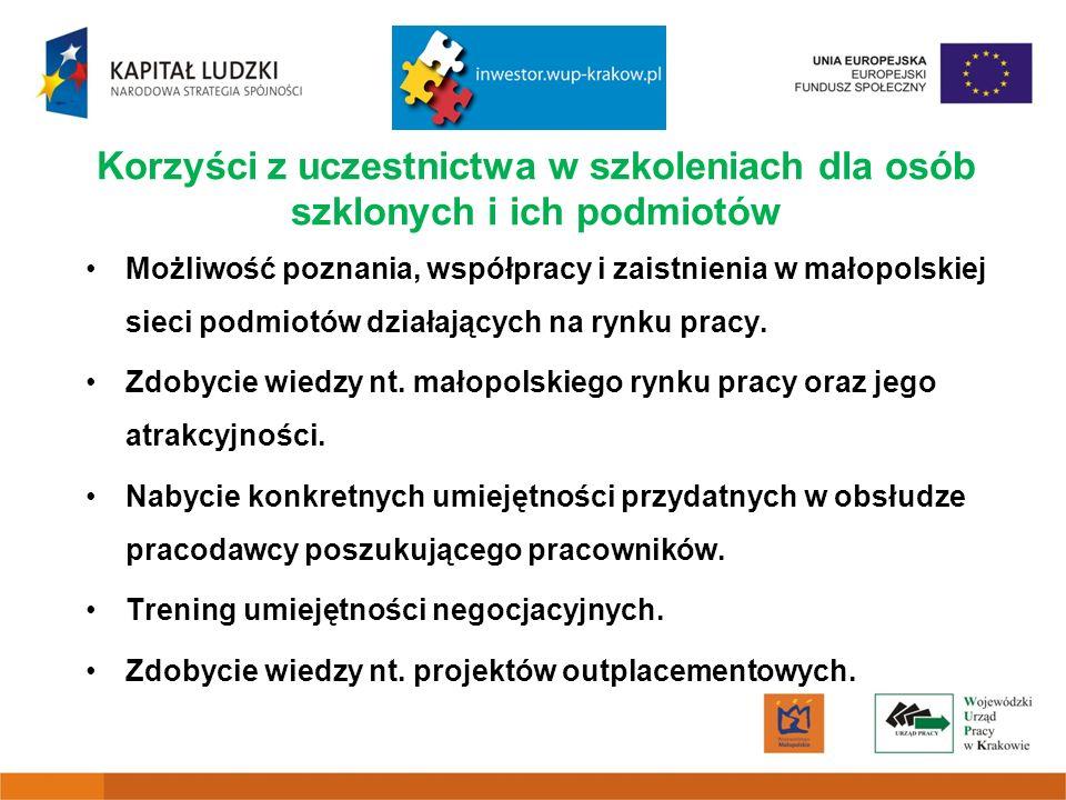 Korzyści z uczestnictwa w szkoleniach dla osób szklonych i ich podmiotów Możliwość poznania, współpracy i zaistnienia w małopolskiej sieci podmiotów działających na rynku pracy.