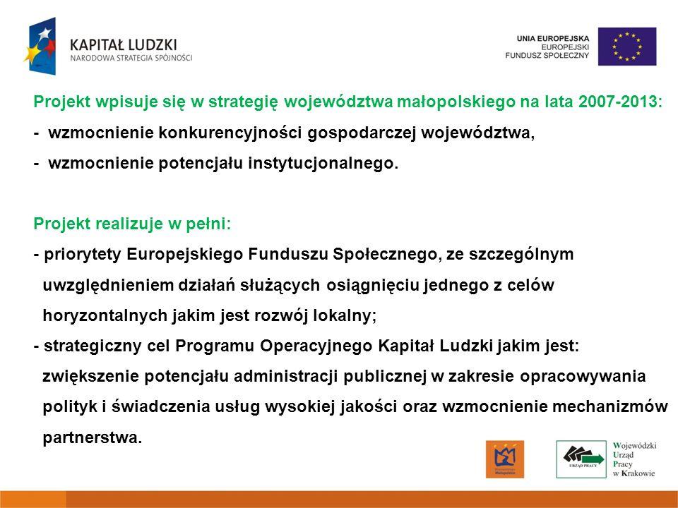 Projekt wpisuje się w strategię województwa małopolskiego na lata 2007-2013: - wzmocnienie konkurencyjności gospodarczej województwa, - wzmocnienie potencjału instytucjonalnego.