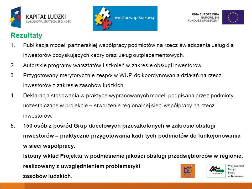 Rezultaty 1.Publikacja modeli partnerskiej współpracy podmiotów na rzecz świadczenia usług dla inwestorów pozyskujących kadry oraz usług outplacementowych.