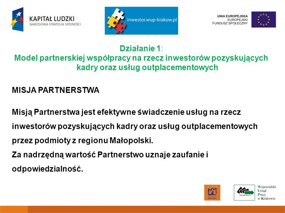 Działanie 1: Model partnerskiej współpracy na rzecz inwestorów pozyskujących kadry oraz usług outplacementowych MISJA PARTNERSTWA Misją Partnerstwa jest efektywne świadczenie usług na rzecz inwestorów pozyskujących kadry oraz usług outplacementowych przez podmioty z regionu Małopolski.