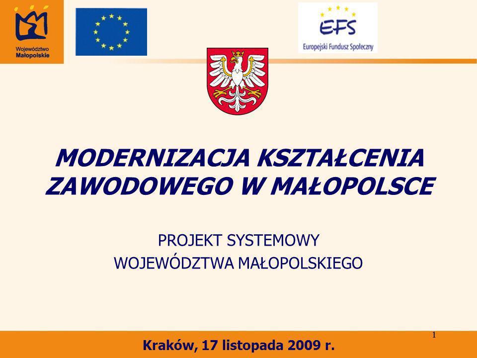 1 1 MODERNIZACJA KSZTAŁCENIA ZAWODOWEGO W MAŁOPOLSCE PROJEKT SYSTEMOWY WOJEWÓDZTWA MAŁOPOLSKIEGO Kraków, 17 listopada 2009 r.