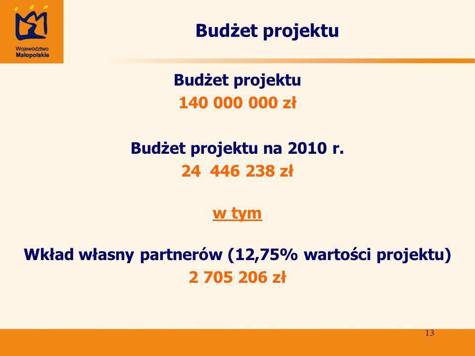13 Budżet projektu 140 000 000 zł Budżet projektu na 2010 r.