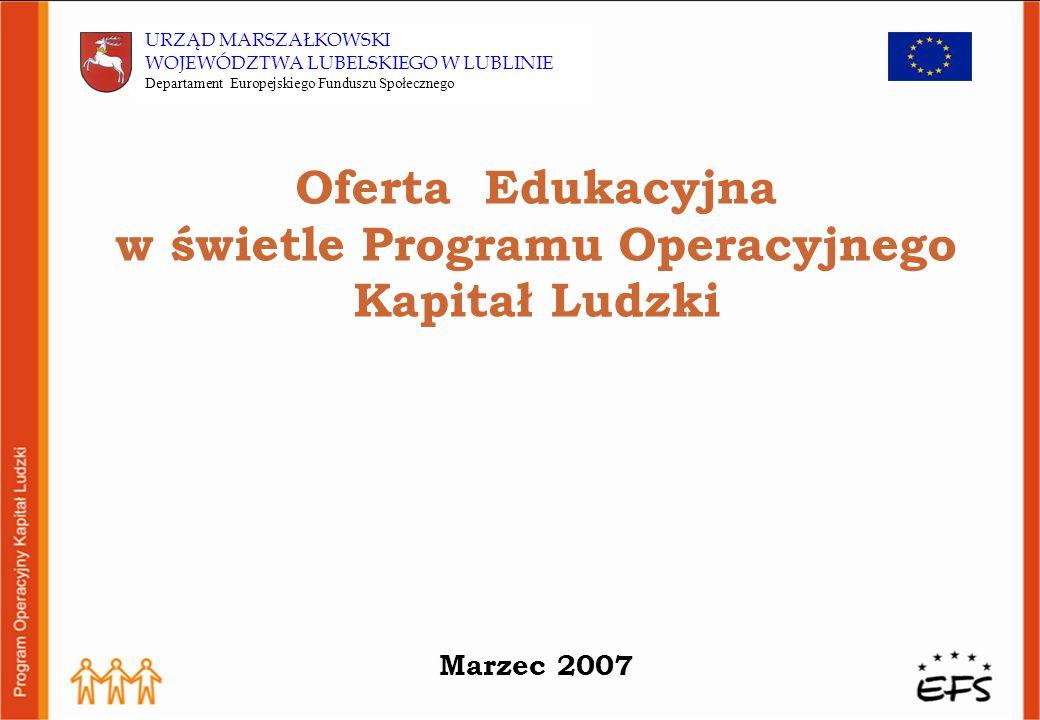 System instytucjonalny wdrażania PO KL w Województwie Lubelskim : IZ -Instytucja Zarządzająca – Ministerstwo Rozwoju Regionalnego IP - Instytucja Pośrednicząca – Samorząd Województwa Lubelskiego – Departament EFS (także wdrażanie Priorytetów VIII i IX) IP 2 - Instytucja Pośrednicząca 2 stopnia – Wojewódzki Urząd Pracy w Lublinie (wdrażanie priorytetów VII i X) Oferta Edukacyjna w świetle PO KL