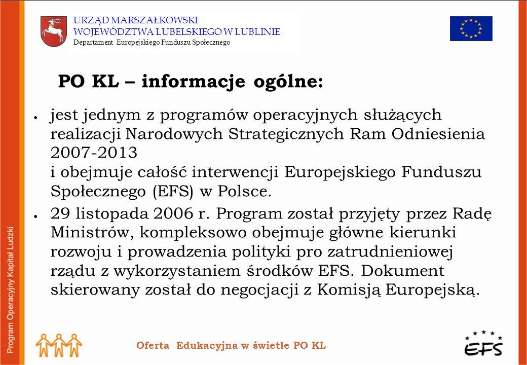PO KL – informacje ogólne: jest jednym z programów operacyjnych służących realizacji Narodowych Strategicznych Ram Odniesienia 2007-2013 i obejmuje całość interwencji Europejskiego Funduszu Społecznego (EFS) w Polsce.