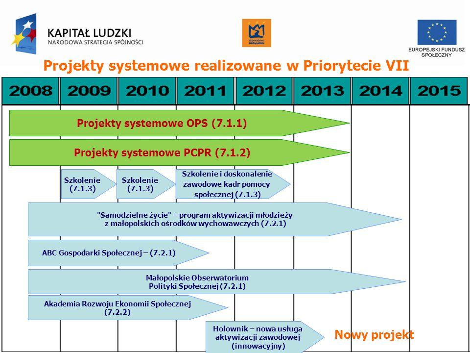 Projekty systemowe realizowane w Priorytecie VII Szkolenie i doskonalenie zawodowe kadr pomocy społecznej (7.1.3) Samodzielne życie – program aktywizacji młodzieży z małopolskich ośrodków wychowawczych (7.2.1) ABC Gospodarki Społecznej – (7.2.1) Małopolskie Obserwatorium Polityki Społecznej (7.2.1) Akademia Rozwoju Ekonomii Społecznej (7.2.2) Holownik – nowa usługa aktywizacji zawodowej (innowacyjny) Projekty systemowe OPS (7.1.1) Projekty systemowe PCPR (7.1.2) Szkolenie (7.1.3) Nowy projekt