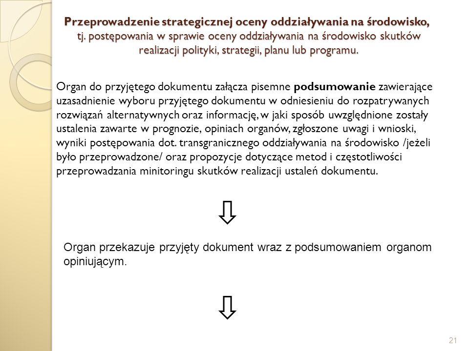 Przeprowadzenie strategicznej oceny oddziaływania na środowisko, tj. postępowania w sprawie oceny oddziaływania na środowisko skutków realizacji polit