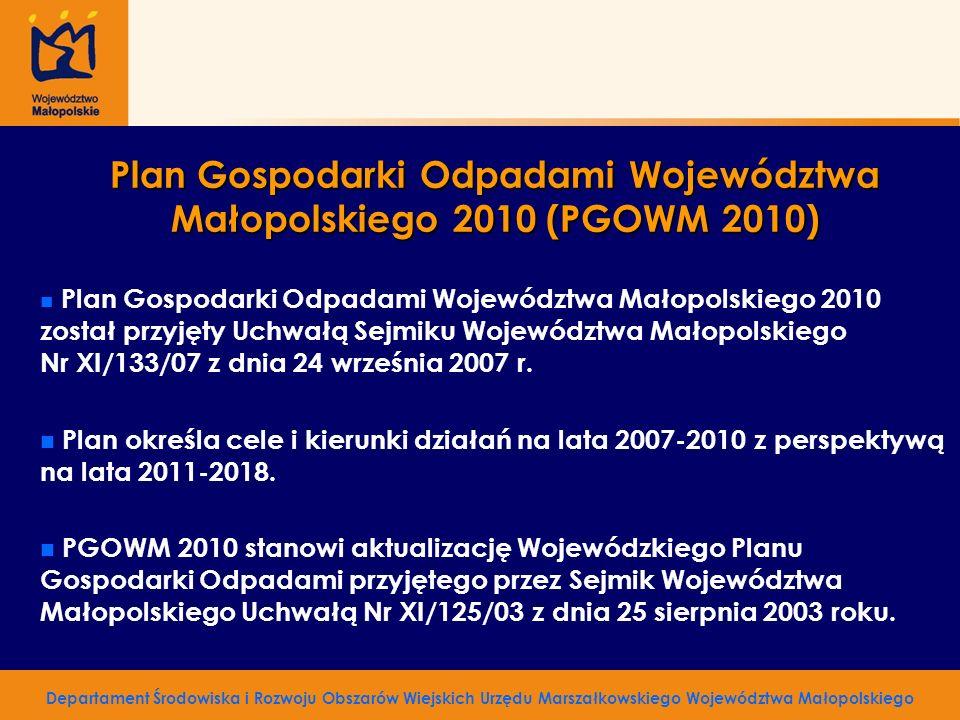 Plan Gospodarki Odpadami Województwa Małopolskiego 2010 (PGOWM 2010) n n Plan Gospodarki Odpadami Województwa Małopolskiego 2010 został przyjęty Uchwa