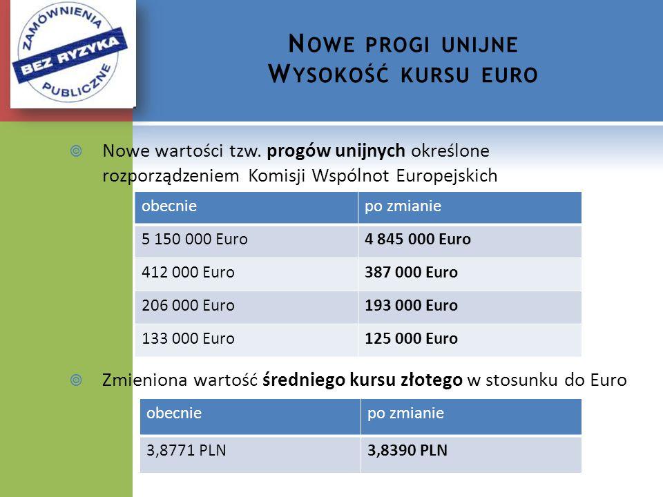 N OWE PROGI UNIJNE W YSOKOŚĆ KURSU EURO Nowe wartości tzw. progów unijnych określone rozporządzeniem Komisji Wspólnot Europejskich Zmieniona wartość ś