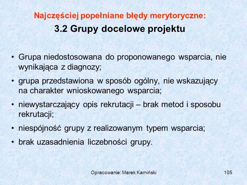 Opracowanie: Marek Kamiński105 Najczęściej popełniane błędy merytoryczne: 3.2 Grupy docelowe projektu Grupa niedostosowana do proponowanego wsparcia, nie wynikająca z diagnozy; grupa przedstawiona w sposób ogólny, nie wskazujący na charakter wnioskowanego wsparcia; niewystarczający opis rekrutacji – brak metod i sposobu rekrutacji; niespójność grupy z realizowanym typem wsparcia; brak uzasadnienia liczebności grupy.