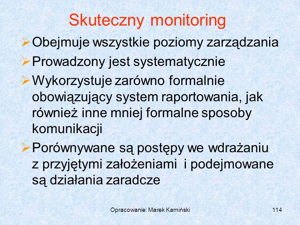 Opracowanie: Marek Kamiński114 Skuteczny monitoring Obejmuje wszystkie poziomy zarządzania Prowadzony jest systematycznie Wykorzystuje zarówno formalnie obowiązujący system raportowania, jak również inne mniej formalne sposoby komunikacji Porównywane są postępy we wdrażaniu z przyjętymi założeniami i podejmowane są działania zaradcze