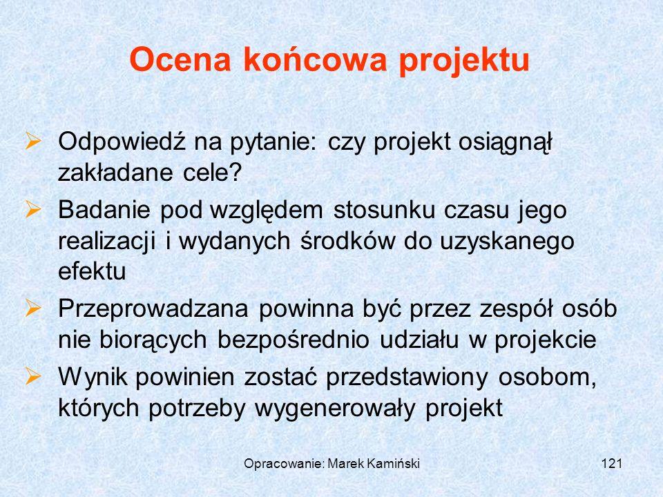 Opracowanie: Marek Kamiński121 Ocena końcowa projektu Odpowiedź na pytanie: czy projekt osiągnął zakładane cele.
