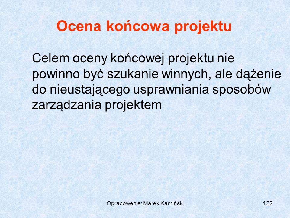 Opracowanie: Marek Kamiński122 Ocena końcowa projektu Celem oceny końcowej projektu nie powinno być szukanie winnych, ale dążenie do nieustającego usprawniania sposobów zarządzania projektem