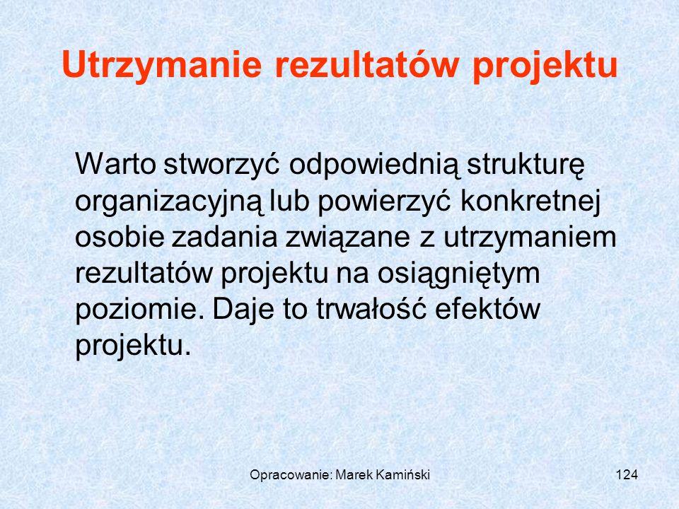 Opracowanie: Marek Kamiński124 Utrzymanie rezultatów projektu Warto stworzyć odpowiednią strukturę organizacyjną lub powierzyć konkretnej osobie zadania związane z utrzymaniem rezultatów projektu na osiągniętym poziomie.