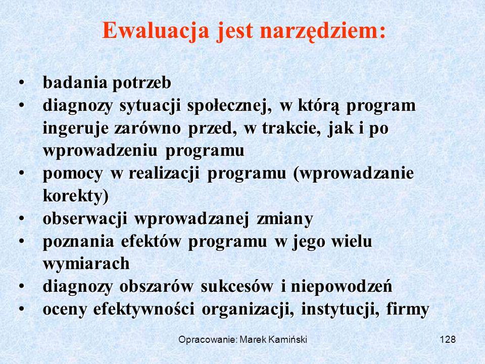 Opracowanie: Marek Kamiński128 Ewaluacja jest narzędziem: badania potrzebbadania potrzeb diagnozy sytuacji społecznej, w którą program ingeruje zarówno przed, w trakcie, jak i po wprowadzeniu programudiagnozy sytuacji społecznej, w którą program ingeruje zarówno przed, w trakcie, jak i po wprowadzeniu programu pomocy w realizacji programu (wprowadzanie korekty)pomocy w realizacji programu (wprowadzanie korekty) obserwacji wprowadzanej zmianyobserwacji wprowadzanej zmiany poznania efektów programu w jego wielu wymiarachpoznania efektów programu w jego wielu wymiarach diagnozy obszarów sukcesów i niepowodzeńdiagnozy obszarów sukcesów i niepowodzeń oceny efektywności organizacji, instytucji, firmyoceny efektywności organizacji, instytucji, firmy