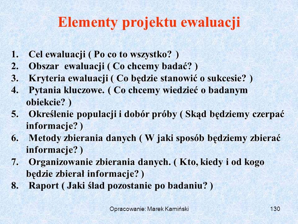 Opracowanie: Marek Kamiński130 1.Cel ewaluacji ( Po co to wszystko.