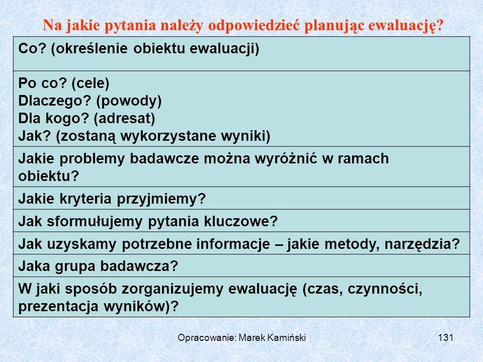 Opracowanie: Marek Kamiński131 Na jakie pytania należy odpowiedzieć planując ewaluację.