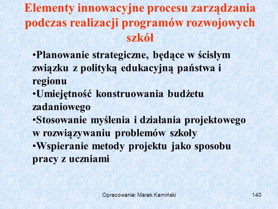 Opracowanie: Marek Kamiński140 Elementy innowacyjne procesu zarządzania podczas realizacji programów rozwojowych szkół Planowanie strategiczne, będące w ścisłym związku z polityką edukacyjną państwa i regionu Umiejętność konstruowania budżetu zadaniowego Stosowanie myślenia i działania projektowego w rozwiązywaniu problemów szkoły Wspieranie metody projektu jako sposobu pracy z uczniami