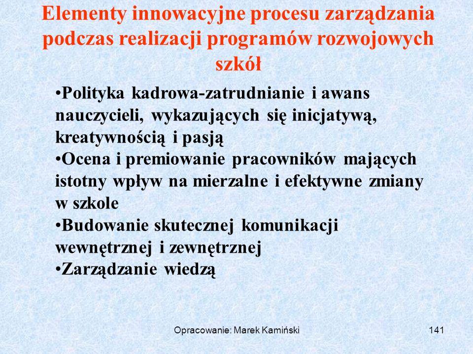 Opracowanie: Marek Kamiński141 Elementy innowacyjne procesu zarządzania podczas realizacji programów rozwojowych szkół Polityka kadrowa-zatrudnianie i awans nauczycieli, wykazujących się inicjatywą, kreatywnością i pasją Ocena i premiowanie pracowników mających istotny wpływ na mierzalne i efektywne zmiany w szkole Budowanie skutecznej komunikacji wewnętrznej i zewnętrznej Zarządzanie wiedzą