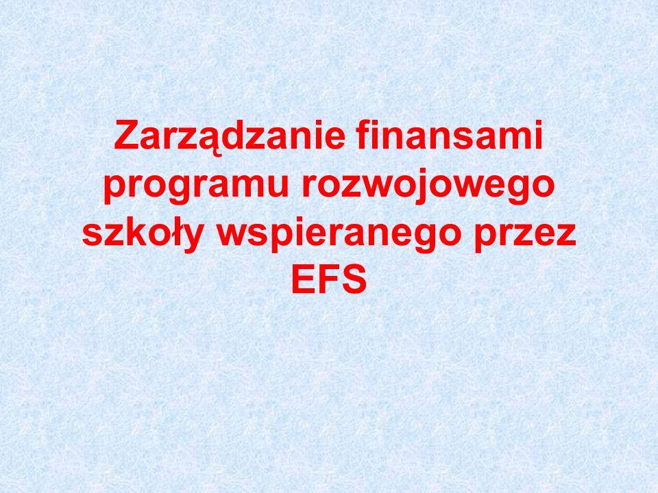 Zarządzanie finansami programu rozwojowego szkoły wspieranego przez EFS
