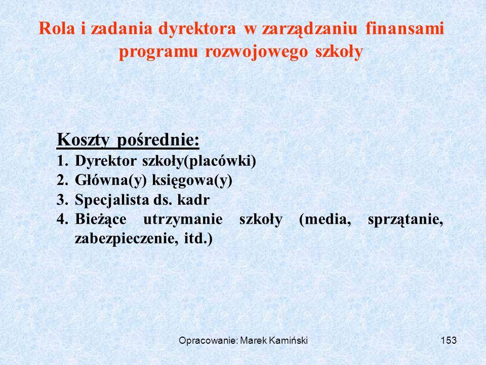 Opracowanie: Marek Kamiński153 Rola i zadania dyrektora w zarządzaniu finansami programu rozwojowego szkoły Koszty pośrednie: 1.Dyrektor szkoły(placówki) 2.Główna(y) księgowa(y) 3.Specjalista ds.